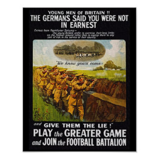 Vintage WW1 British Football Battalion Poster
