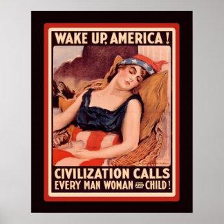 Vintage WW1 Patriotic Wake Up America Poster