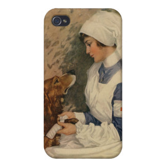 Vintage WW1 Red Cross Nurse with Golden Retriever Cover For iPhone 4