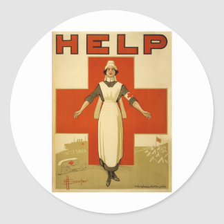 Vintage WW1 Red Cross Poster Classic Round Sticker
