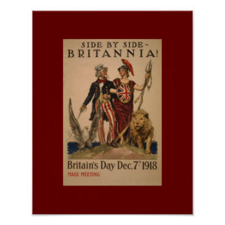 Vintage WW1 Side By Side Brittania Poster