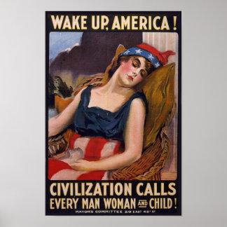 Vintage WW1 Wake Up America Propaganda Poster