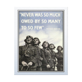 Vintage WW2 Churchill Quote Military Vets Stretched Canvas Print