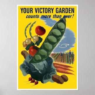 Vintage WW2 Grow Your own Veg Poster Print