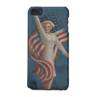 Vintage WW2 Patriotic Nurse in Uniform with Flag iPod Touch (5th Generation) Cover