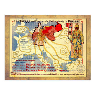 Vintage WWI map poster of Prussia Postcard