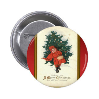 Vintage xmas boy with a Christmas tree Button