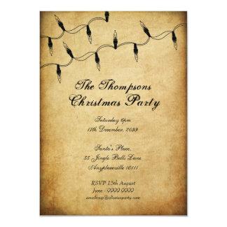 Vintage Xmas Christmas Tree Fairy Lights Party 11 Cm X 16 Cm Invitation Card