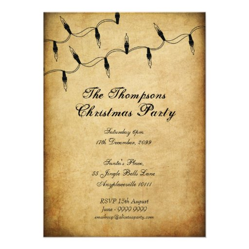 Vintage Xmas Christmas Tree Fairy Lights Party Personalized Invites