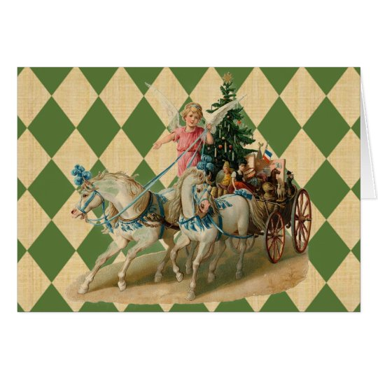 Vintage Xmas Horses & Angel Card