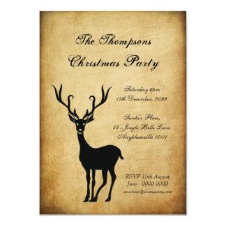Vintage Xmas Reindeer Christmas Party 11 Cm X 16 Cm Invitation Card