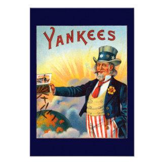 Vintage Yankees Cigar Label Patriotic Uncle Sam Custom Announcements