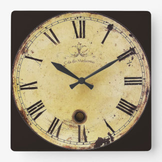 Vintage yellow and black grunge french wall clock
