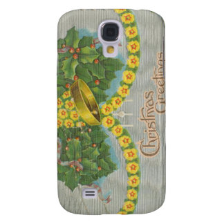 Vintage Yellow and Green Christmas Bells Samsung Galaxy S4 Cover