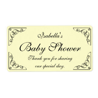 Vintage yellow baby shower water bottle labels