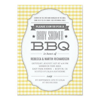 Vintage Yellow BBQ Neutral Baby Shower Invitations