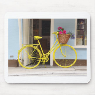 Vintage Yellow Bicycle and flower basket Mouse Pad
