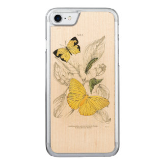 Vintage Yellow Butterflies Insects Carved iPhone 7 Case