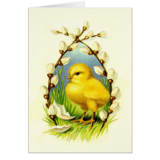 Vintage Yellow Chick & Pussywillows Greeting Card