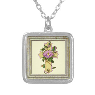 Vintage Yellow Cross Silver Plated Necklace