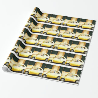 Vintage Yellow Fiat 500 in Italy Wrapping Paper