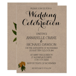 Vintage Yellow Floral Wedding Invitations