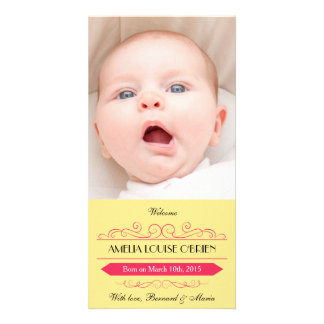 Vintage Yellow & Fuschia Girl Birth Announcement Personalized Photo Card