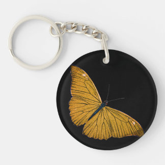 Vintage Yellow Gold Butterfly 1800s Illustration Key Ring