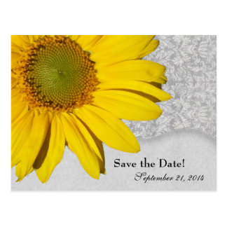 Vintage Yellow Gray Sunflower Save the Date Postcard