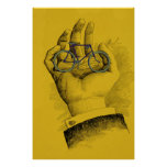 Vintage Yellow Hand Bicycle Humourous Bike Poster