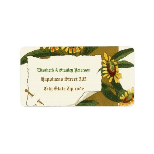 Vintage yellow helenium flowers wedding label