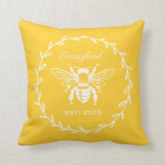 Vintage Yellow Honey Bee Laurel Honeycomb Monogram Cushion