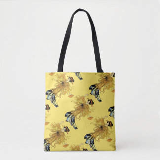 Vintage Yellow Japanese Lady Tote Bag