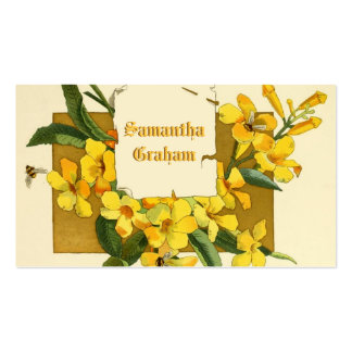 Vintage yellow jasmine flowers custom floral business card template