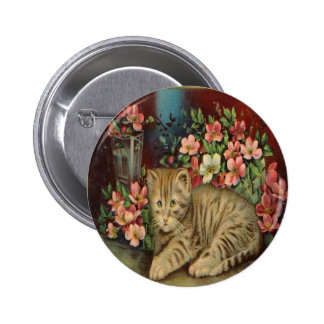 Vintage Yellow Kitten and Pink Flowers Pin