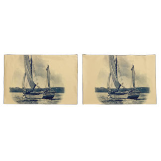 Vintage yellow navy blue sail boat old painting pillowcase