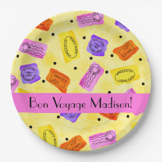 Vintage Yellow Passport Stamps Name Personalized 9 Inch Paper Plate