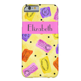 Vintage Yellow Passport Stamps Name Personalized Barely There iPhone 6 Case