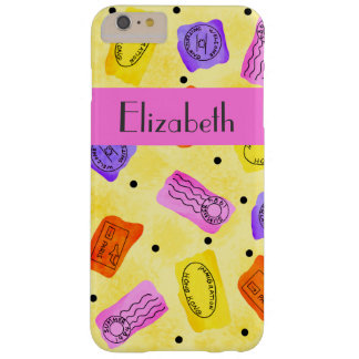 Vintage Yellow Passport Stamps Name Personalized Barely There iPhone 6 Plus Case