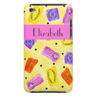 Vintage Yellow Passport Stamps Name Personalized Barely There iPod Covers