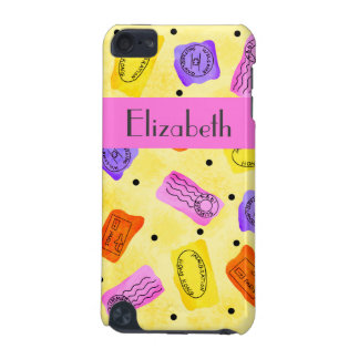 Vintage Yellow Passport Stamps Name Personalized iPod Touch 5G Covers