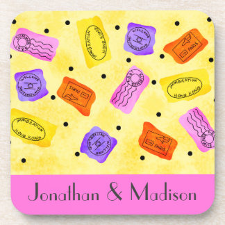 Vintage Yellow Passport Stamps Name Personalized Beverage Coasters