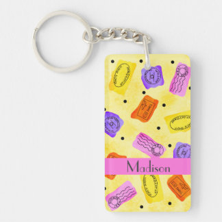 Vintage Yellow Passport Stamps Name Personalized Double-Sided Rectangular Acrylic Key Ring