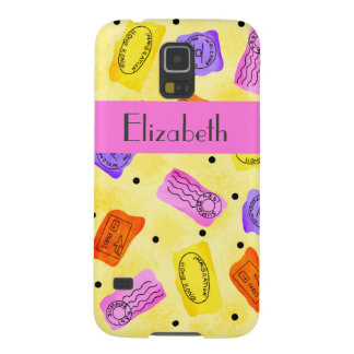 Vintage Yellow Passport Stamps Name Personalized Galaxy S5 Cover
