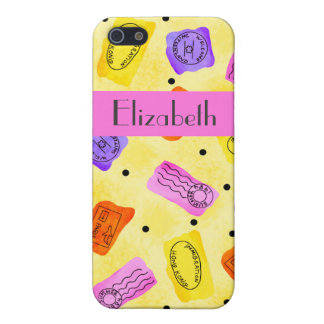 Vintage Yellow Passport Stamps Name Personalized iPhone 5/5S Covers