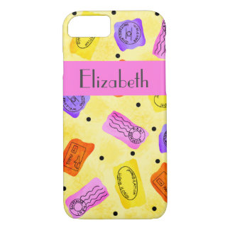 Vintage Yellow Passport Stamps Name Personalized iPhone 7 Case