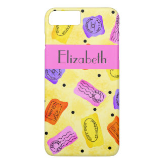 Vintage Yellow Passport Stamps Name Personalized iPhone 7 Plus Case