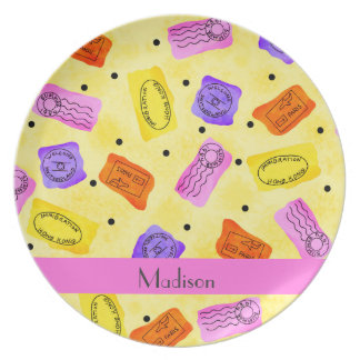 Vintage Yellow Passport Stamps Name Personalized Dinner Plate