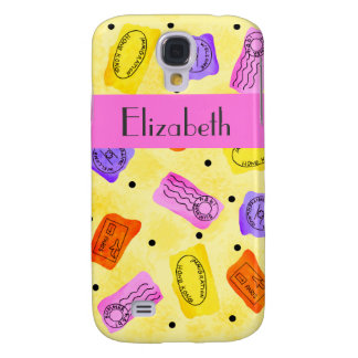 Vintage Yellow Passport Stamps Name Personalized Samsung Galaxy S4 Cases
