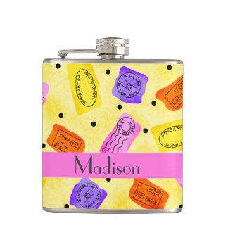 Vintage Yellow Passport Stamps Name Personalized Flask